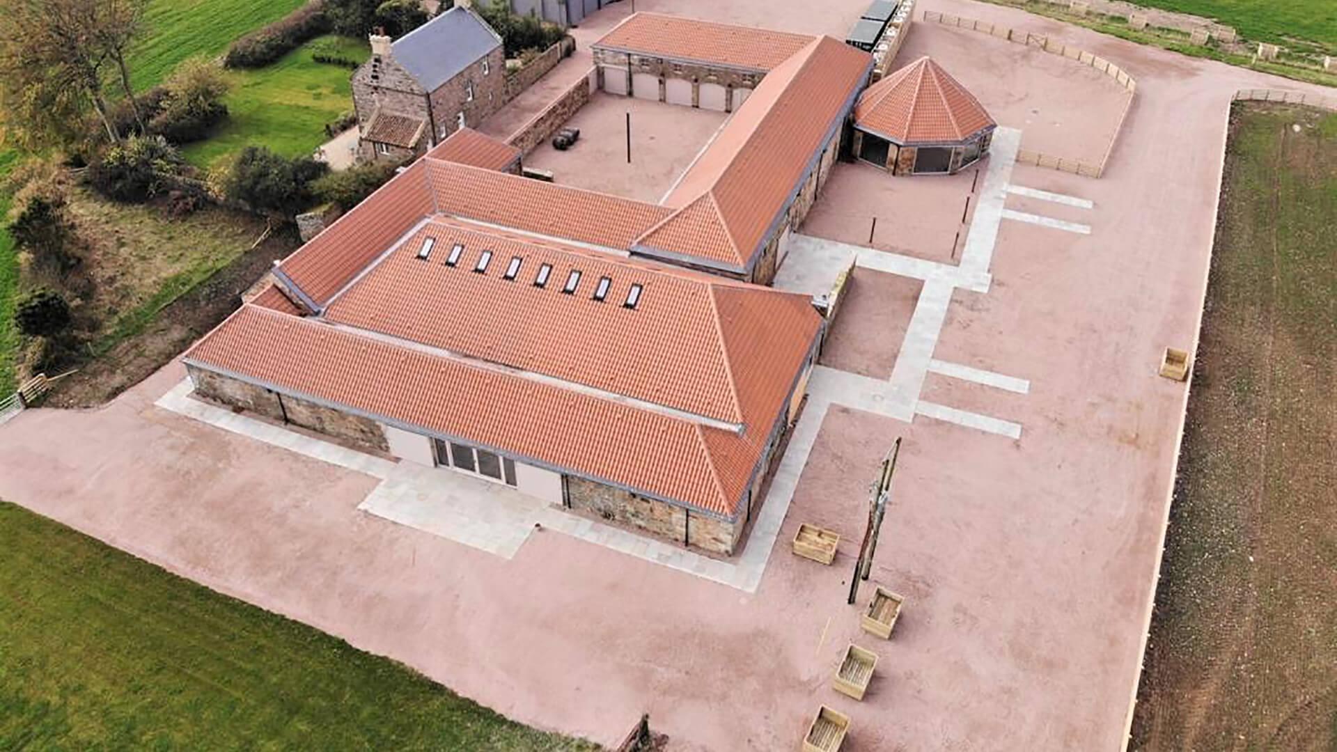 Falside Mill Venue aerial view of complex