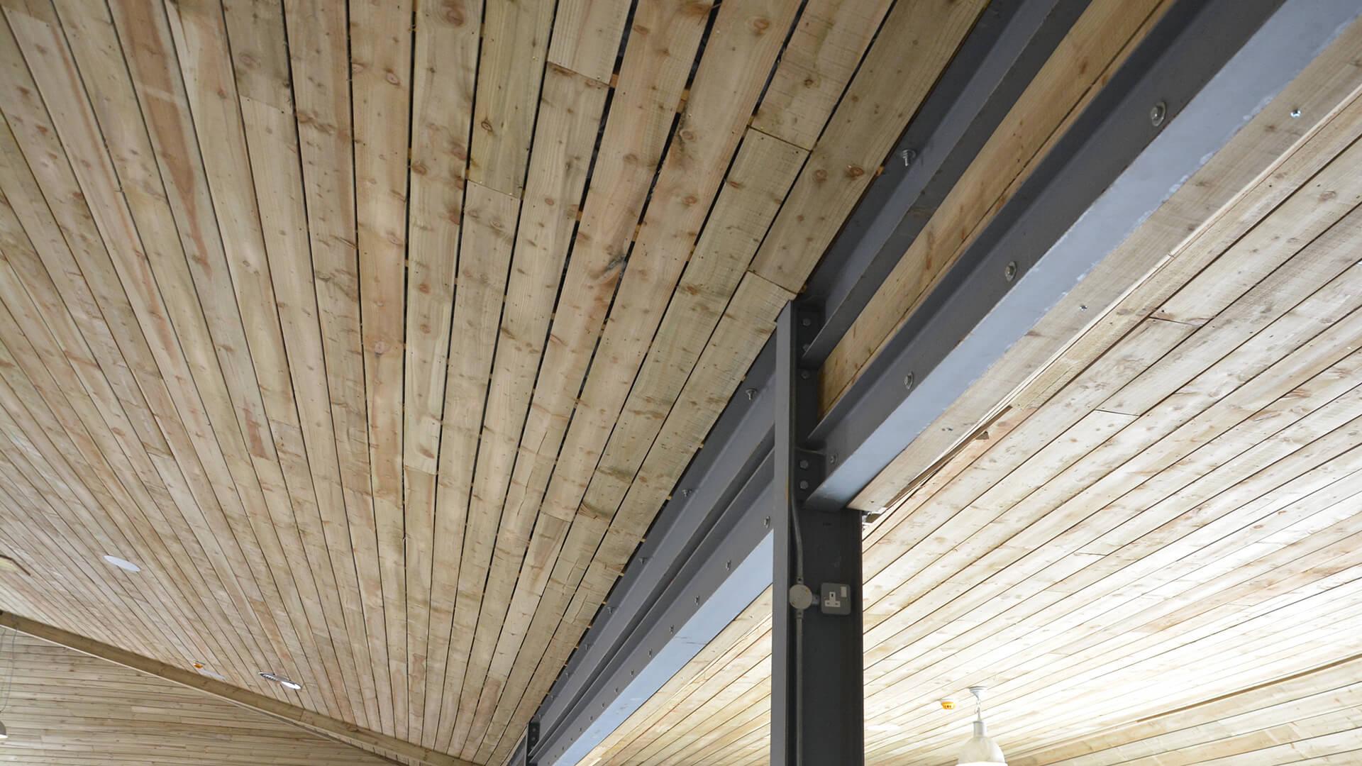 Falside Mill Venue close up of support beams