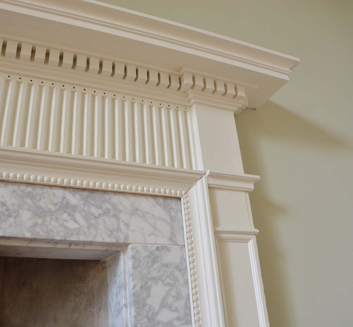 Georgian House image of corner of marble fireplace following restoration