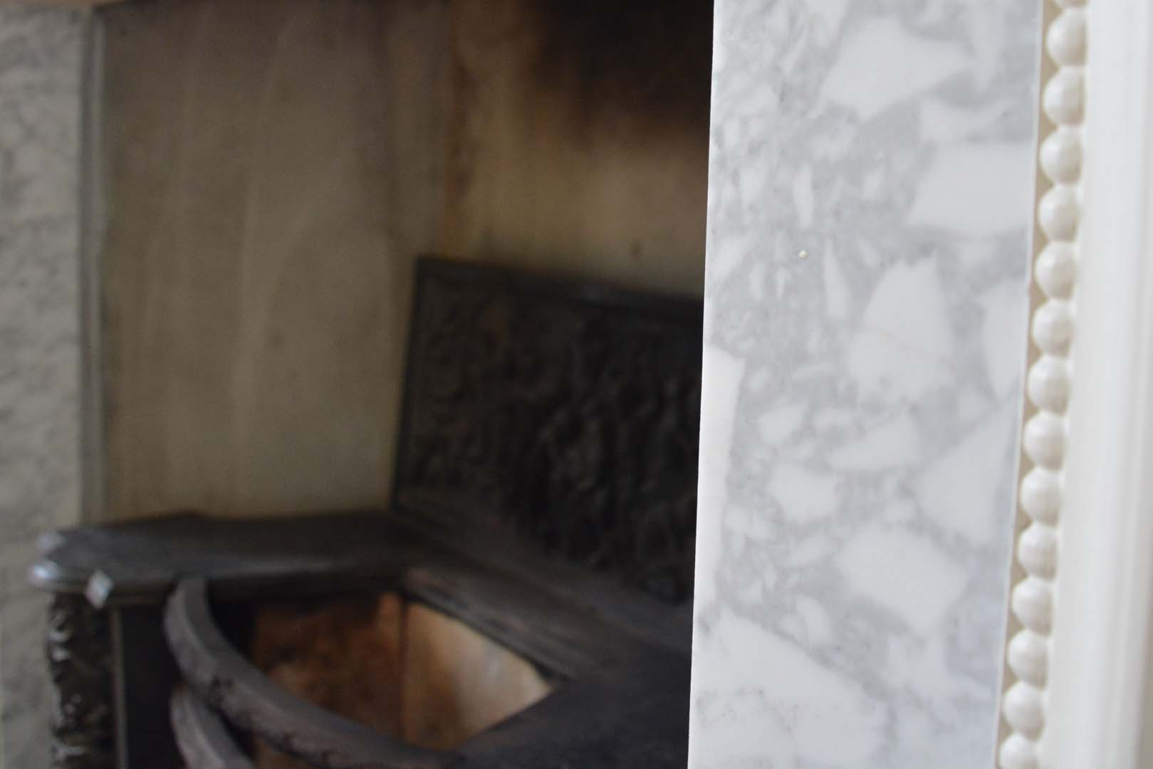 Georgian House close up of marble fireplace following restoration