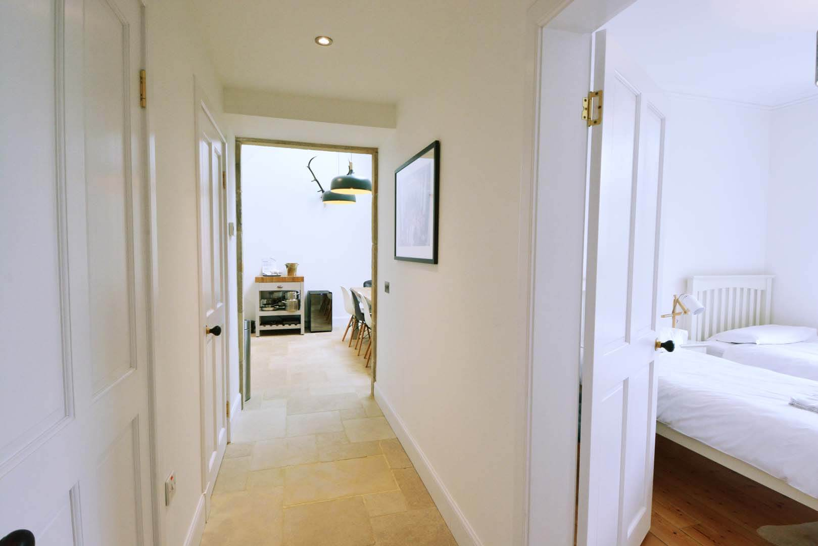 Refurb and Extension Traditional Cottage Hallway looking into Double bedroom and Kitchen