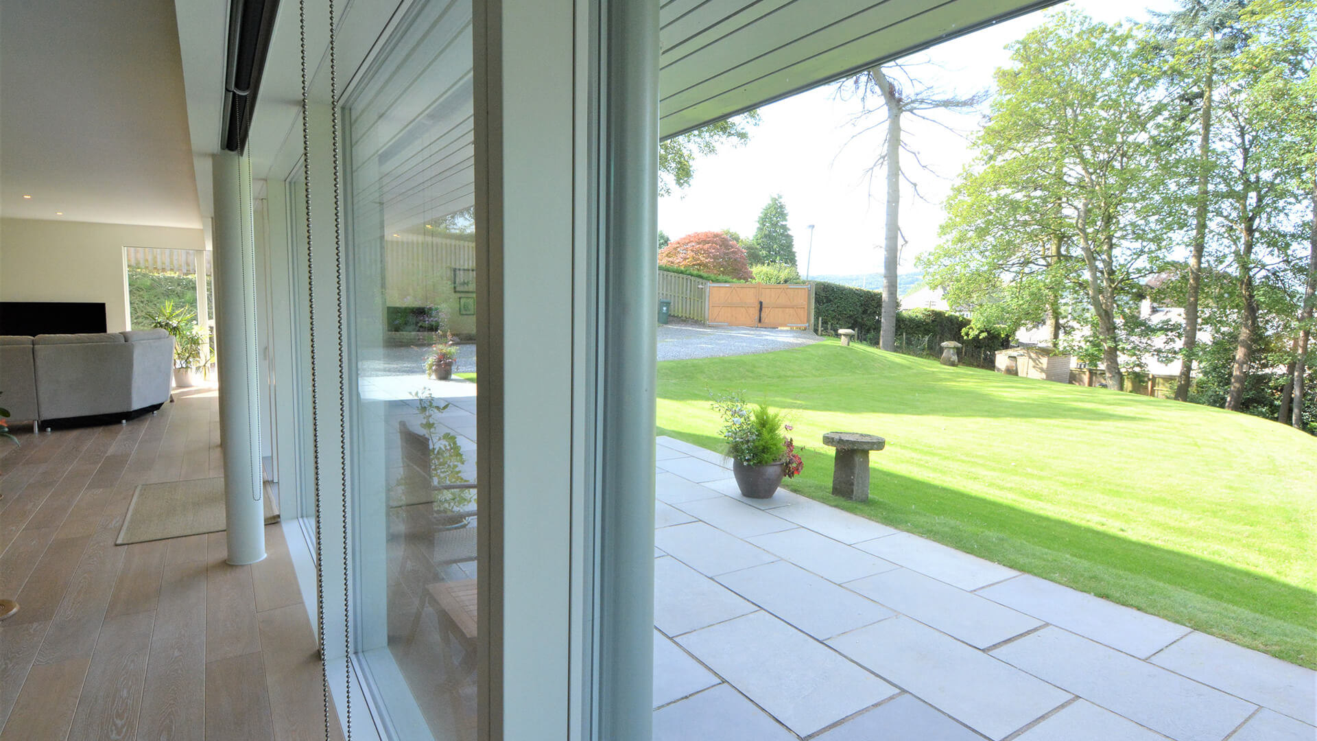 Bellwood Timber Frame House front garden from inside